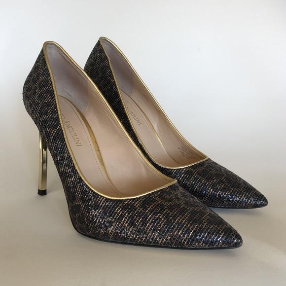2e5c322377a76 Enzo Angiolini leopard print heels & gold accents